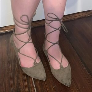 Old Navy Olive Green Lace Up Almond Toe Flats